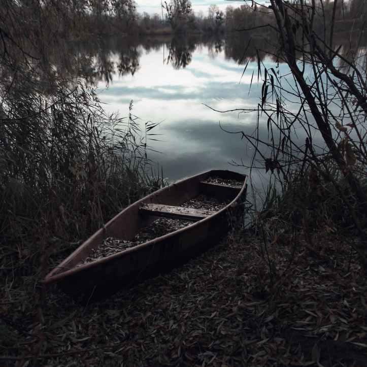 boat canoe evening island